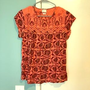 EUC Anthropologie postmark cap sleeve print blouse